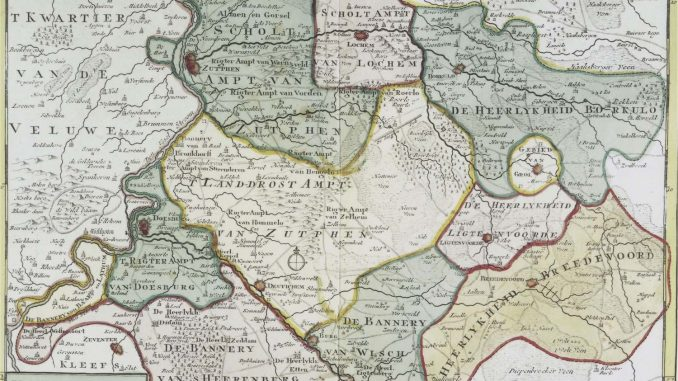 Kaart Graafschap Zutphen met heerlijkheden en bannerijen